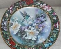 ON SALE Lena Liu's Hummingbird Treasury Broad-billed Plate #6 Floral