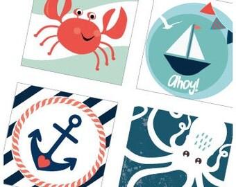 Nautical Sailing Love  - One (1x1) Inch (25 mm) Pendant Images - Digital Sheet - Buy 2 Get 1 Free - Bottle Cap, Magnets, Pendant Images