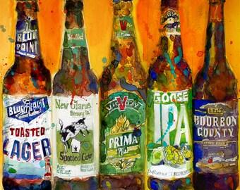 Bluepoint - NewGlarus- Goose IPA - Victory - Bourbon County Combo Beer Art Print- Fancy Beer - Bar Poster
