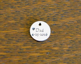 Dad Custom Laser Engraved Stainless Steel 10mm  Charm CC382