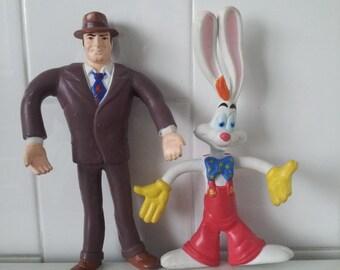 Vintage Set Of 2 1988 Roger Rabbit Action Figures BENDY