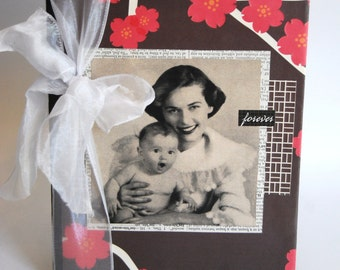 Upcycled Notebook, Journal, Mother and Child, Family