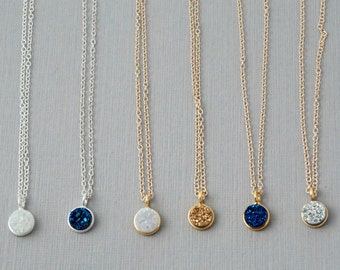 Round Druzy Necklace in Gold or Silver / Druzy Necklace your choice of colors