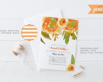 BRIDAL SHOWER invitation | peachy orange rose | gold foil | green | stripe | personalized | print at home