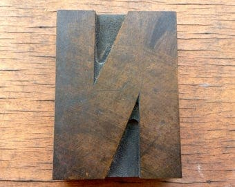 Antique Letterpress Printers WOOD TYPE - Letter N