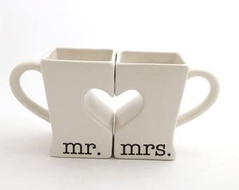 Mr & Mrs. mug set for couples, bride and groom, wedding, anniversary gift, heart puzzle mugs, gifts under 40