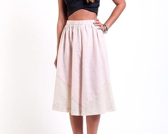 30% off SPRING SALE The Geometric Vintage Pink and Beige Midi Circle Skirt