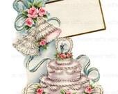 Vintage Wedding Cake PNG and JPG Digital Download vintage card transfer 1950s bride groom roses bridal invitation reception love