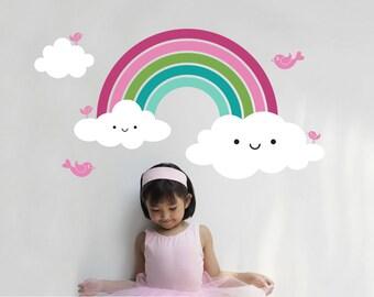 Happy Rainbow Wall Decal Baby Nursery Kids Rainbow Room Decor