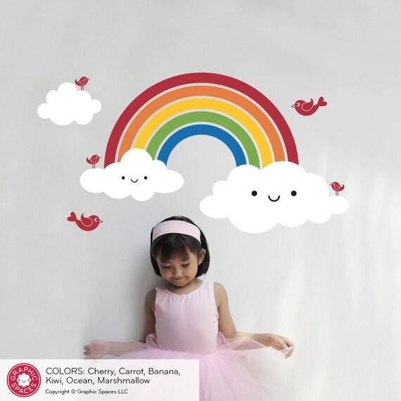 Nursery Happy Rainbow Wall Decal: Cute Kids Baby Rainbow Room Decorations