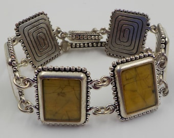 Artsy and very fashionable - Vintage Bracelet - Silver Tone Metal - Marbelized Gem Stones
