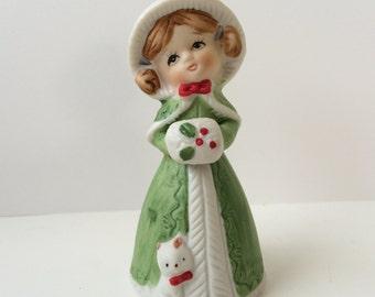 Girl FIgurine, 1978 Jasco Holiday Bell Figurine