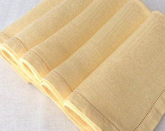 5 Yellow Damask LINEN Napkins 16x17