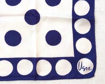 Vera Neumann Scarf Blue and White Polka Dots