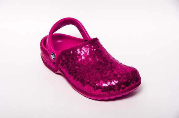 3517a88f7 outlet Tiny Sequin Starlight Hot Fuchsia Pink Clayman Slip On Crocs ...