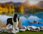 Dollhouse Miniature English Springer Spaniel Artist Furred OOAK Dog 1:12 Scale