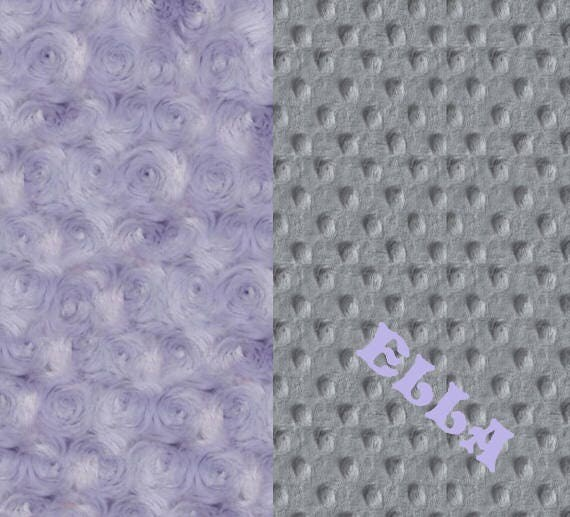 Baby Gift / Baby Blanket Girl / Baby Minky Blanket Gray Lavender Rose Personalized Blanket / Purple Baby Blanket / Name Baby Blanket