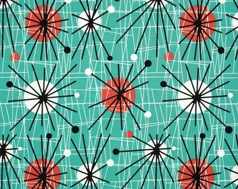 Michael Miller Mid-Century Modern Atomic Turquoise Fabric By The Yard- 100% Cotton Retro! 50's!