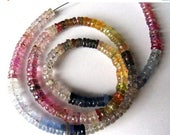 SALE Natural Multi Bi- Color Sapphire heishi rondelle