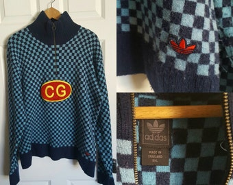 Adidas checkered pullover wool sweater initials CG size XXL rare
