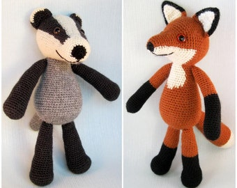 Blackberry the Badger and Bracken the Fox Amigurumi Pattern PDFs