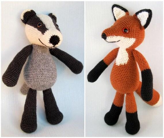 Blackberry the Badger and Bracken the Fox Amigurumi Pattern PDFs