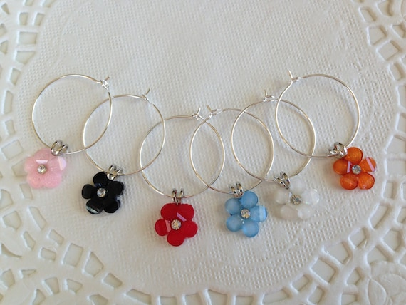 Wine Charms Flowers Home Barware Shower Gift Kitchen Charm Hostess Gift Wine Party