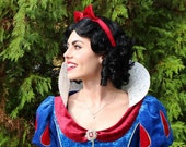 Snow White Parks Style Adult Costume Wig short black finger wave with red bow. A True Enchantment Original