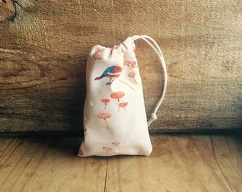 Mini Drawstring Pouch- Reusable Gift Bag - Jewelry Pouch - Gift Card Bag - Peach Bird Mushroom