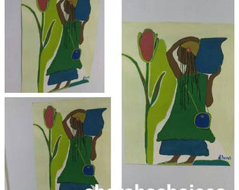 black girl art,black girl paintings,blue flower,Afrikaans art,African American art,green blue,carry water,teen art African teen,locks,dress