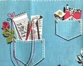 Vintage Tea Towel Denim Pockets Kitchen Wall Decor Fieldcrest Brand