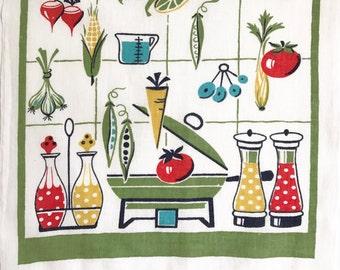 Vintage Kitchen Towel Eames Era Startex Brand Chafing Dish Oil Vinegar Salt and Pepper