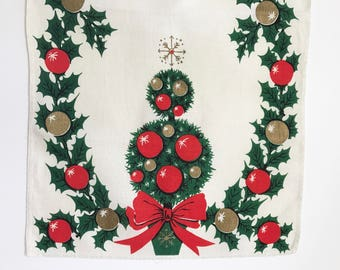 Christmas Tea Towel Holly Topiary Shiny Brite Ornaments Table Runner Atomic Star Tree Topper