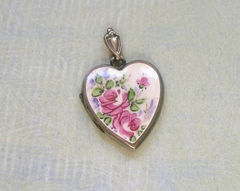 Vintage Sterling Heart Locket with Hand Painted Pink Roses on Porcelain, Antique Bliss Bros Locket, Old Heart Locket (#2725)