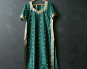 Green Dress Gold and Emerald Short Sleeve Dress With Gold Detail Vintage From Nowvintage on Etsy