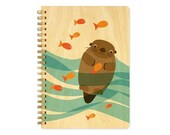 Otter Journal with Real Wood Covers - Sketchbook - Notebook - J1727
