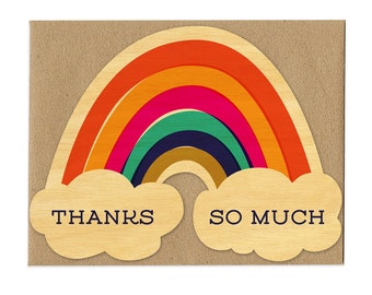 Thanks Rainbow - Real Wood Thank You Card - Rainbow Card - Thank You Note - WC1390