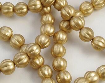 Melon Beads 8mm Czech Glass Matte Gold Bronze - 30