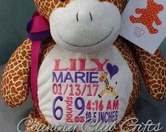 Personalized baby gift,Stuffed giraffe,birth stats,baptism,best baby,baby shower gift,stuffed animal,giraffe,Nursery decor,jungle nursery