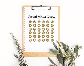 36 Social Media Icons in Metallic Gold Glitter- High Resolution Large Images - Web and Print - Instant Download