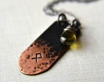Rune necklace, norse rune necklace, copper charm and gemstone necklace - Rune necklace