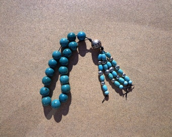 Worry Beads, Turquoise Blue Magnesite Gemstones and Silver Plated Beads, Meditation Beads, Stress Relief Beads, Headache Relief, Gift Wrap