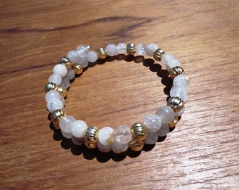 Rutilated Quartz Bracelet, Gemstone Beads and Gold Plated Beads on Self Coiling Wire, Mood Lifting Stone, Energizing Stone, Healing Stone