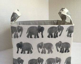 Ex-Large Watercolor Elephants  Divided Fabric Basket
