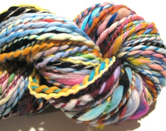 Handspun Yarn Waste Not Want Not 144 yards rainbow yarn knitting supplies crochet supplies waldorf doll hair