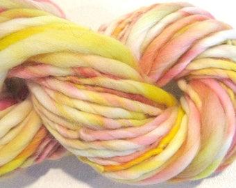 Bulky Handspun Yarn You are My Sunshine 85 yards hand dyed merino wool pink yarn yellow yarn knitting supplies crochet supplies doll hair