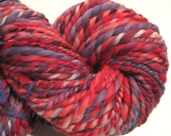 Handspun yarn, Berry Belini, bulky weight, 2 ply, 118 yards, purple red yarn, hand dyed merino wool, knitting supplies, crochet supplies