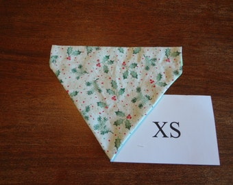 Christmas -Holly themed  dog bandana- over the collar- X small