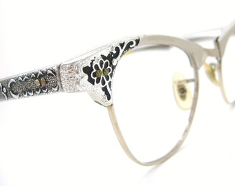 Vintage Cat Eye Eyeglasses Frame Decorative Flower 12kt gf Art Craft