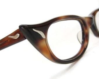 Vintage 50s Small FieryTortoise Eyeglasses Sunglasses Titmus Frame